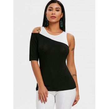One Shoulder Color Block T-shirt - BLACK M