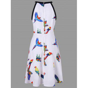 Bird 3D Print Flare Dress - WHITE 2XL