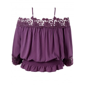 Plus Size Lace Trim Cold Shoulder Smocked Blouse - PURPLE JAM XL