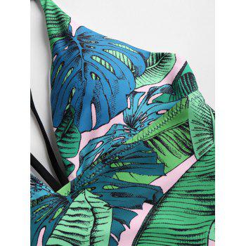 One Piece Leaf Print High Leg Swimwear - JUNGLE GREEN S