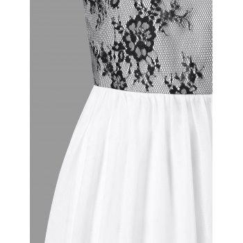 Lace Panel Ankle-length Formal Dress - WHITE L
