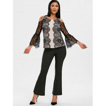 Lace Eyelash Cold Shoulder Blouse - BLACK L