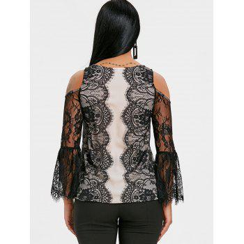 Lace Eyelash Cold Shoulder Blouse - BLACK XL
