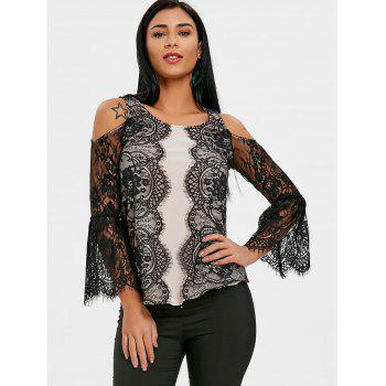 Lace Eyelash Cold Shoulder Blouse - BLACK 2XL