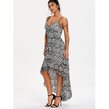 Spaghetti Strap High Low Lace Maxi Dress - WHITE/BLACK 2XL