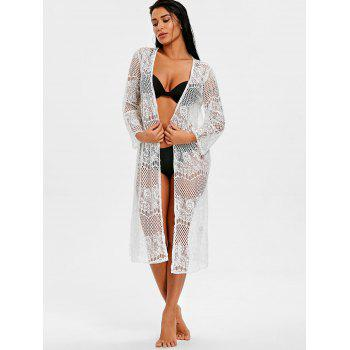Collarless See Through Openwork Cover Up - WHITE L