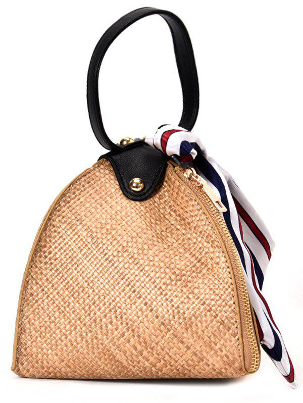 Geometric Straw Vacation Style Zip Decor Crossbody Bag - BROWN