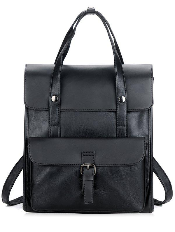 Casual Minimalist Faux Leather Backpack with Handle - BLACK