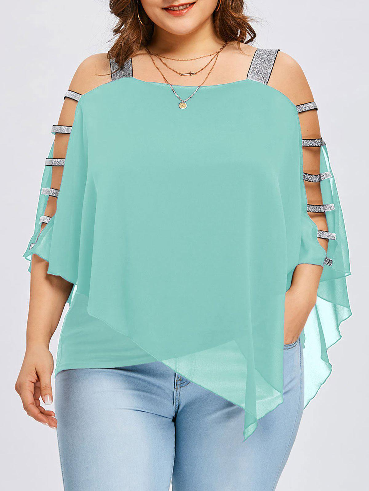 2018 Plus Size Ladder Cut Overlay Asymmetric Blouse MINT GREEN XL In ...