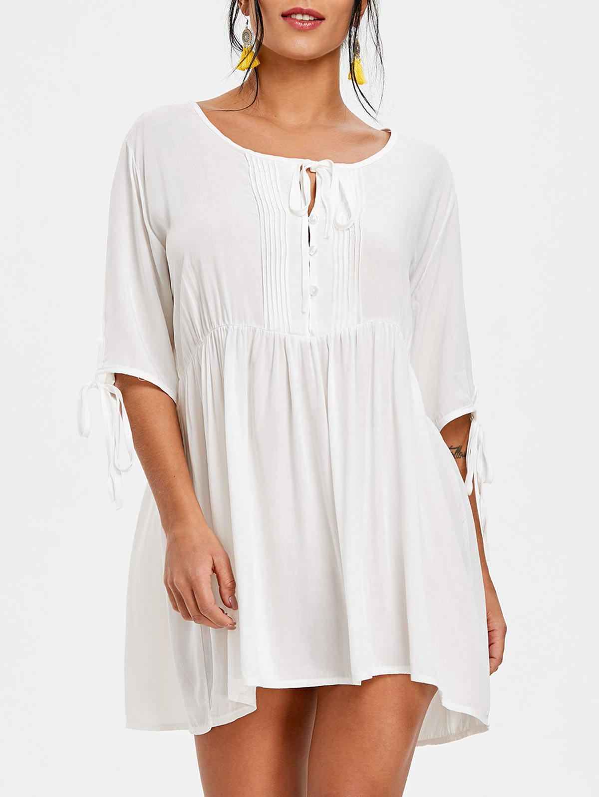 High Waisted Pintuck Shift Dress - WHITE S