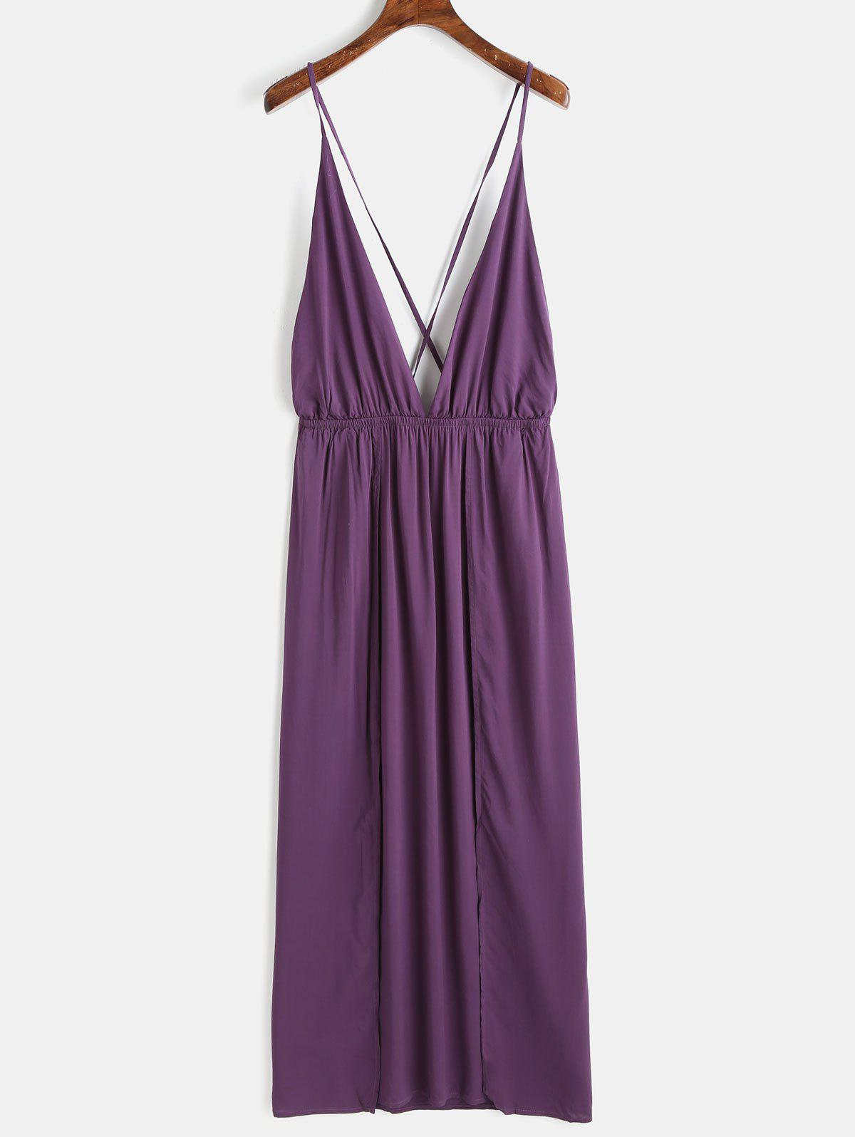 Plunge High Slit Maxi Dress - PURPLE HAZE XL