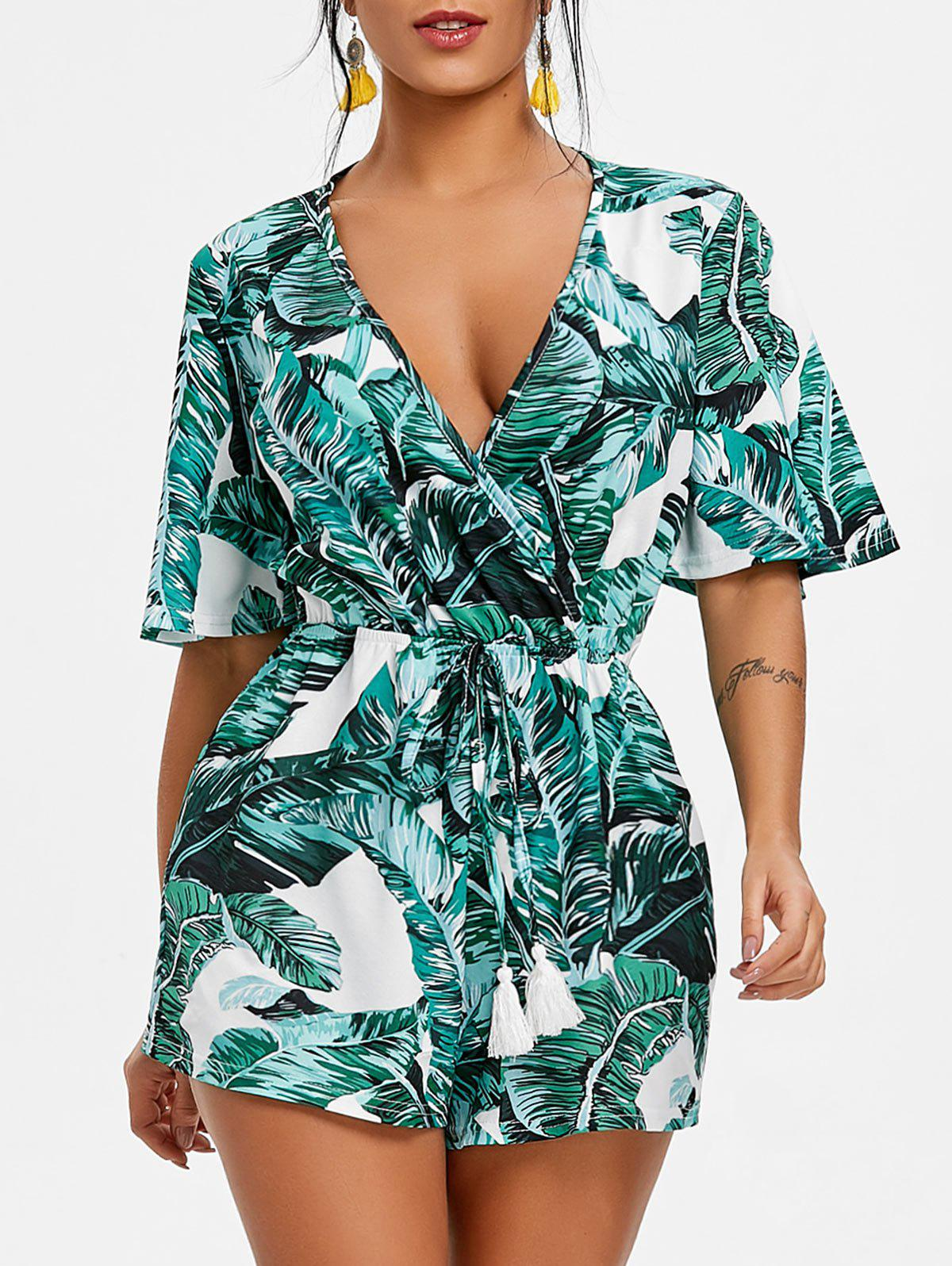 Image result for Tropical Leaf Print Drawstring Romper