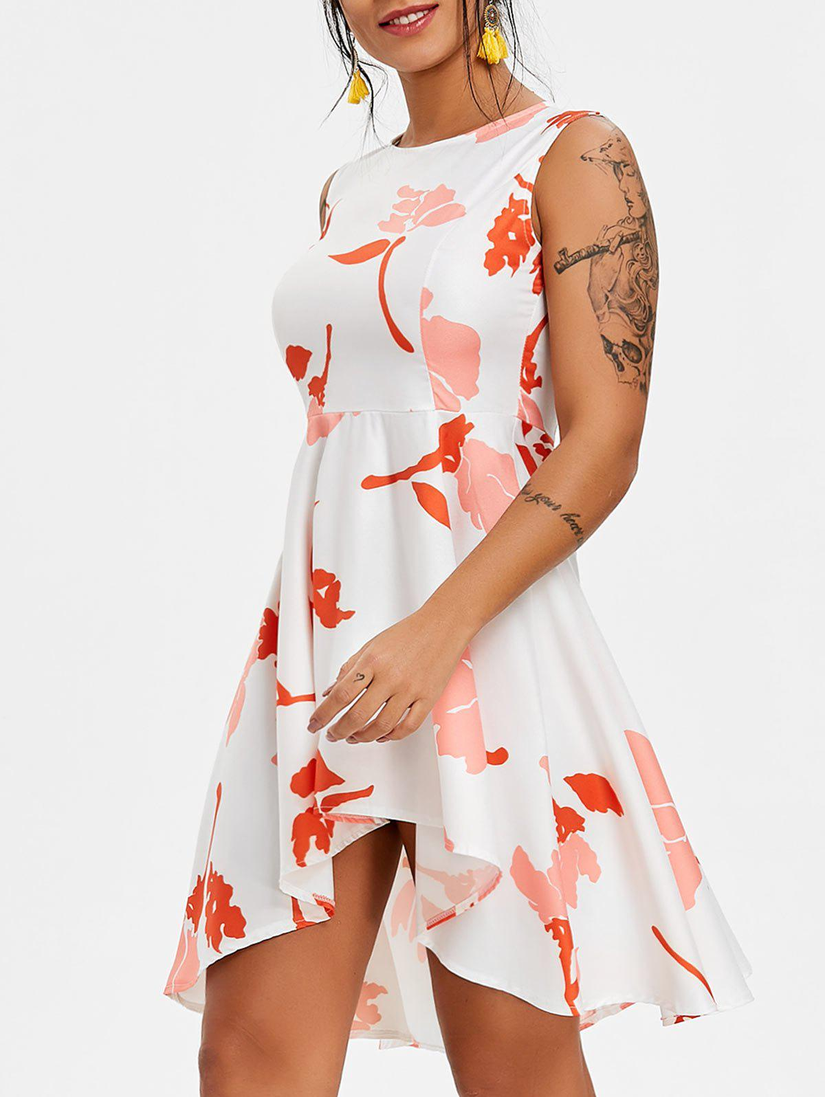 Floral High Low Flare Dress - WHITE XL