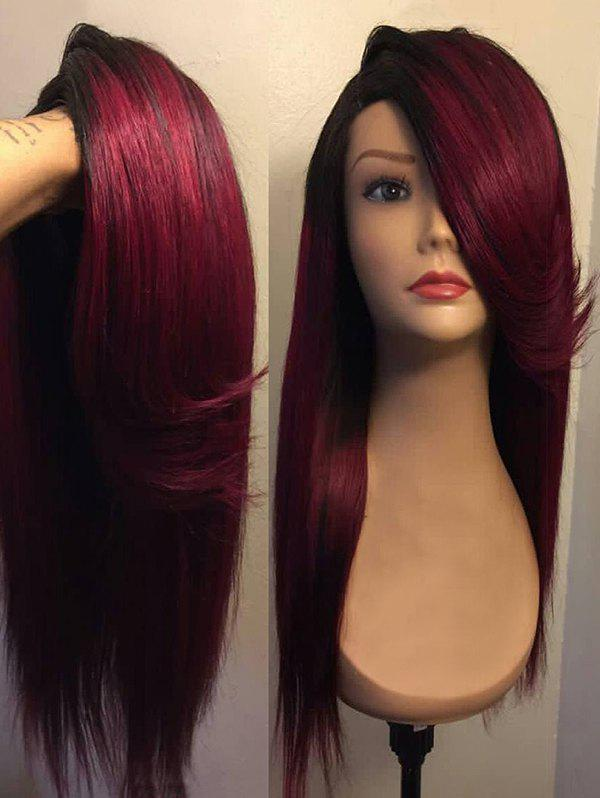 Long Flip Side Parting Straight Colormix Synthetic Party Wig - RED WINE