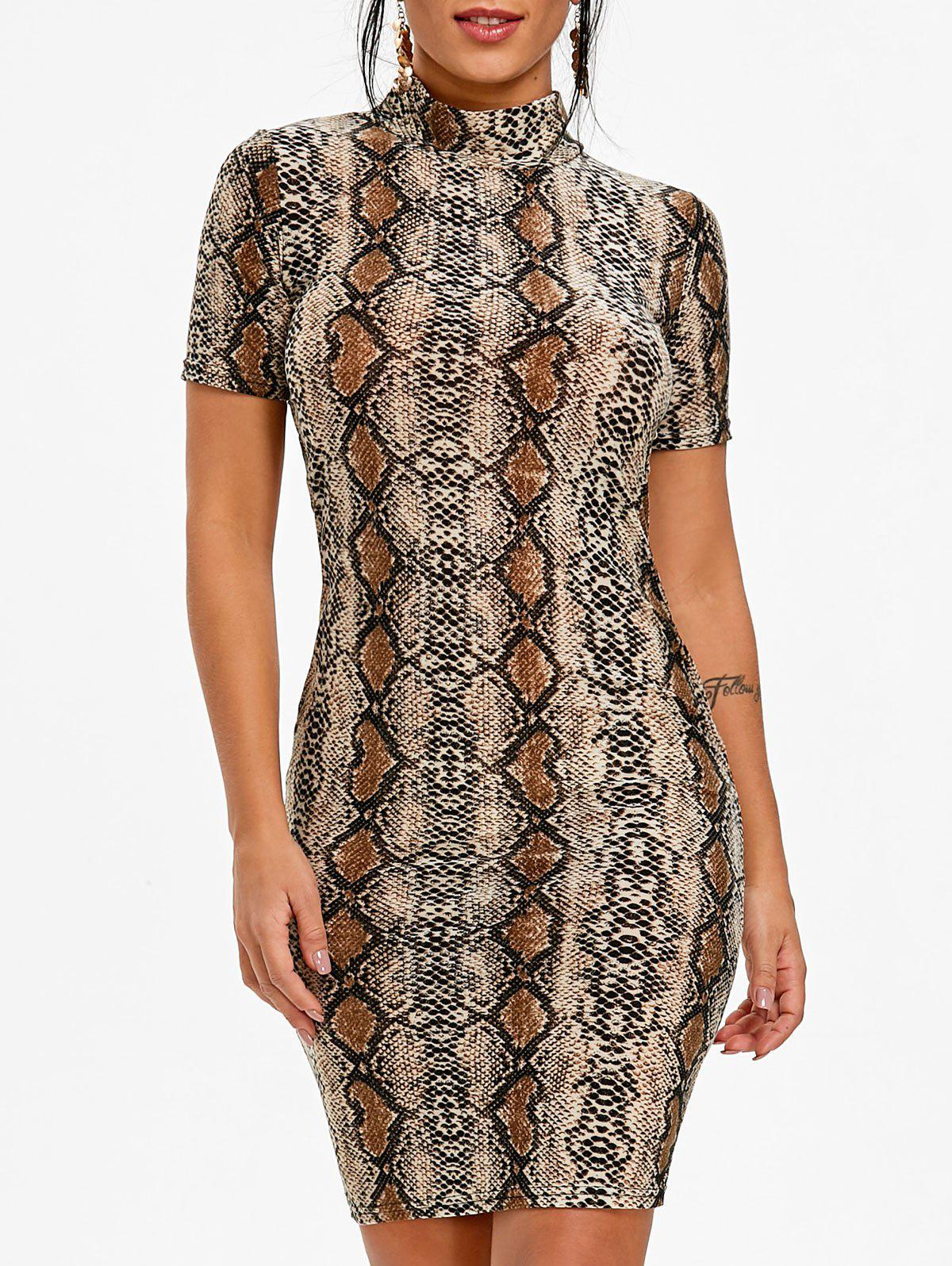 Snakeskin Print Short Sleeve Dress - multicolor M