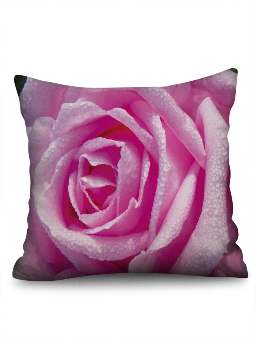 Flower with Water Drop Print Home Decor Pillowcase - PINK W18 INCH * L18 INCH