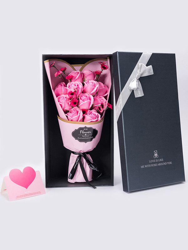 Mother's Day Gift Artificial Rose Soap Flowers Bouquet - PINK 38*20*12CM