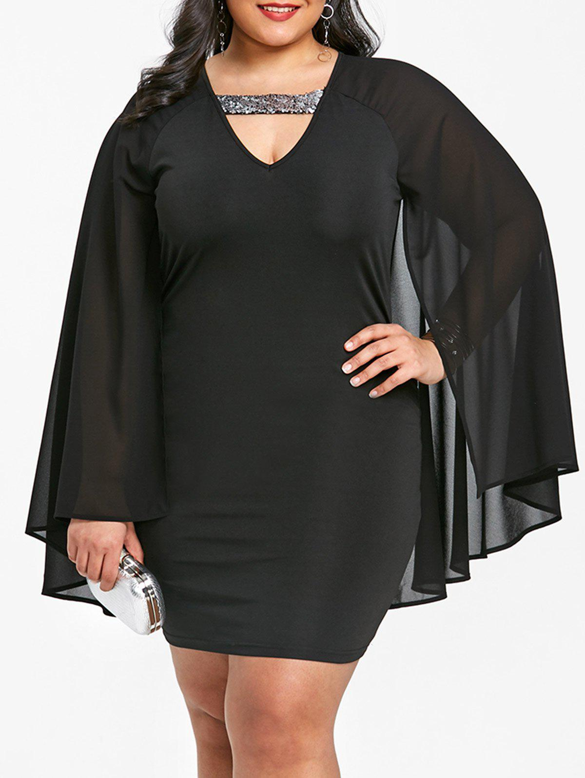 Plus Size Split Sleeve Cape Dress plus size novelty cape sleeve black dress