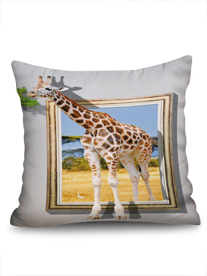 3D Giraffe Print Cushion Cover Square Pillowcase - multicolor W18 INCH * L18 INCH