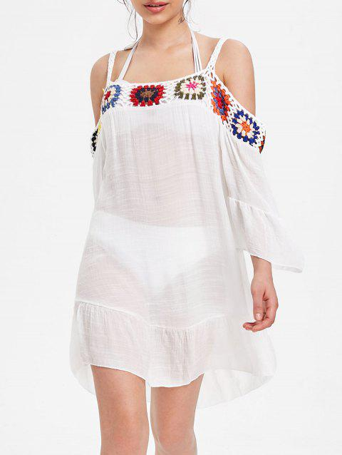 Flounce Open Shoulder Sheer Cover Up Dress - WHITE ONE SIZE