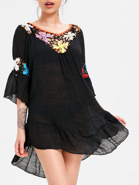 Flounce Crochet Panel Swing Cover Up Dress - BLACK ONE SIZE