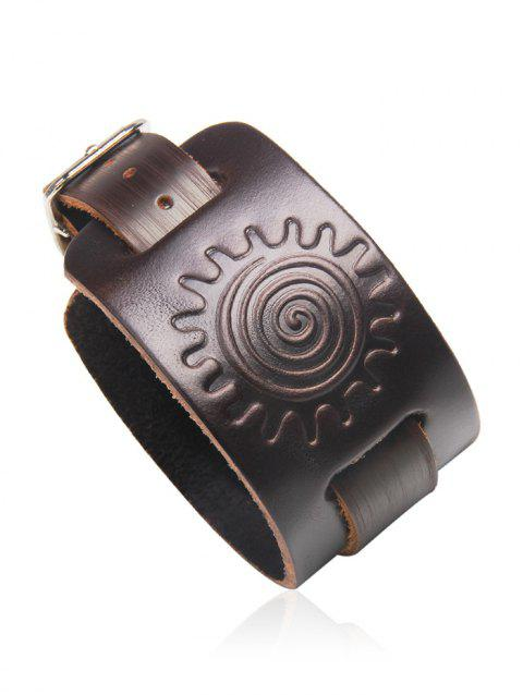 Vintage Faux Leather Sun Printing Bracelet - DEEP BROWN