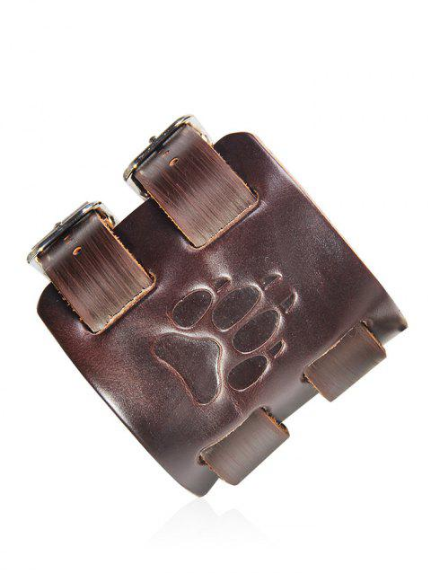 Faux Leather Wolf Claw Printing Cowboy Bracelet - DEEP BROWN