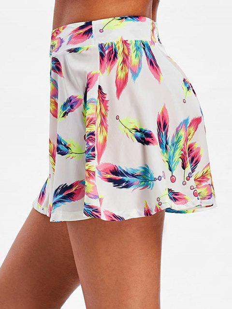 Wide Leg Feather Print Shorts - COLORMIX S