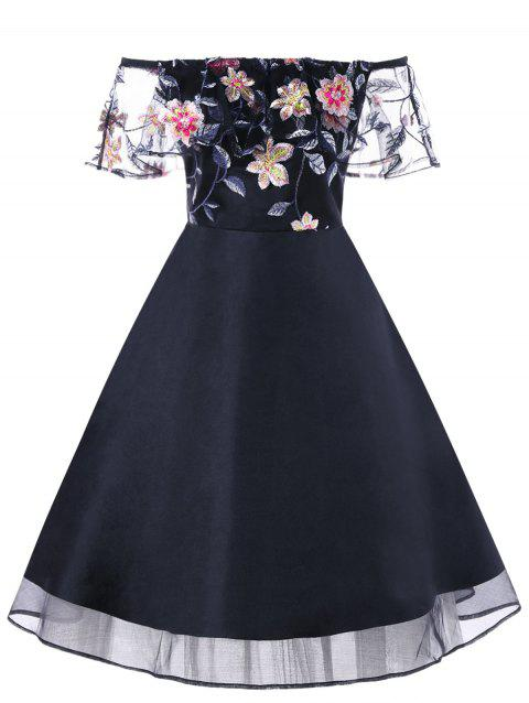 Embroidery Ruffle Off The Shoulder Evening Dress - BLACK XL