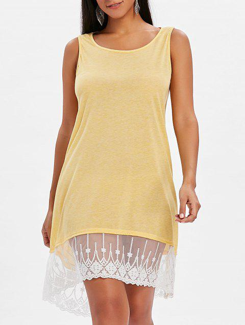 Round Neck Lace Panel Shift Dress - YELLOW S