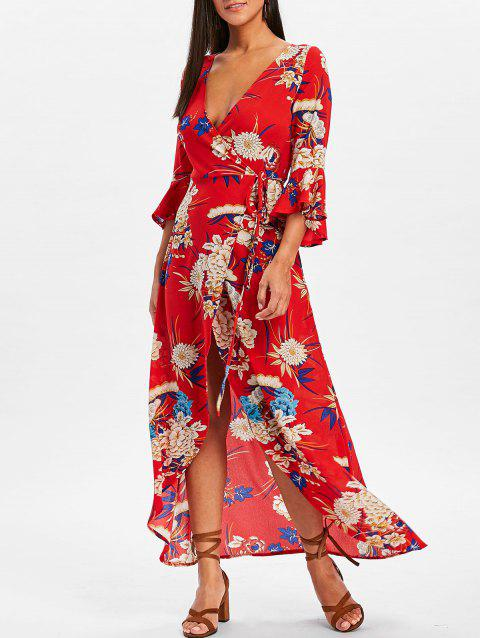 Bell Sleeve Floral Wrap Maxi Dress - RED L
