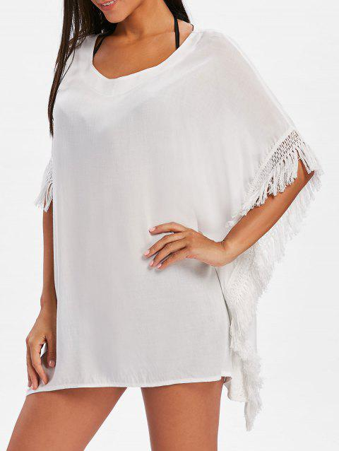 Short Sleeve Fringe Trim Cover Up - WHITE XL