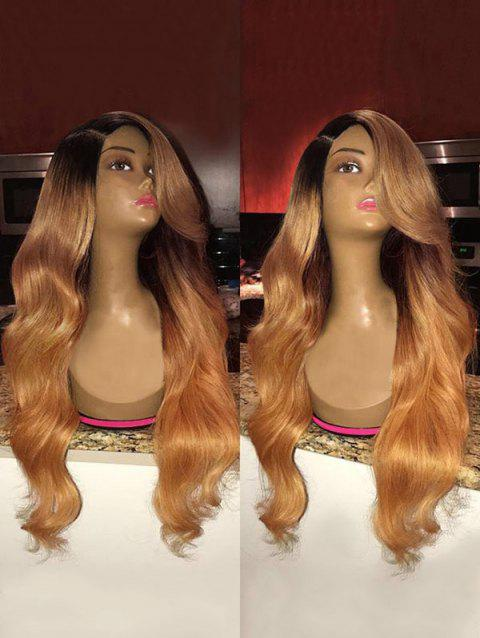 Side Parting Colormix Long Body Wave Synthetic Wig - ORANGE GOLD