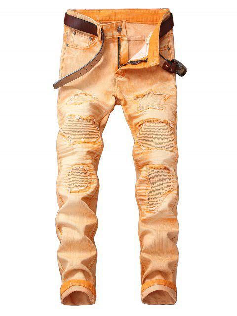 Destroyed Biker Jeans with Straight Leg - CANTALOUPE 38