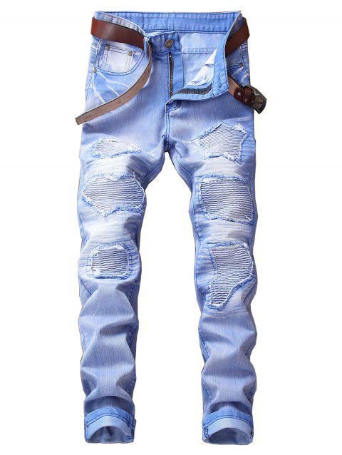 Destroyed Biker Jeans with Straight Leg - SKY BLUE 32