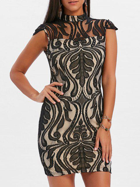 Vintage Patterned Lace Bodycon Dress - BLACK XL