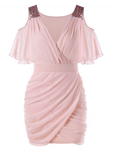 Open Shoulder Sequined Chiffon Dress - LIGHT PINK 2XL