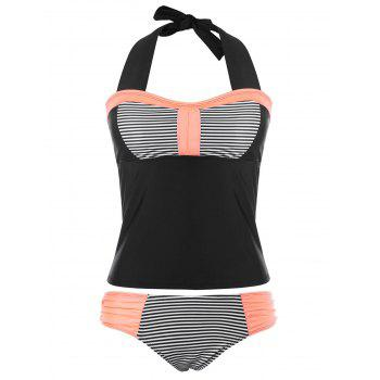 Halter Striped Backless Tankini Set - BLACK XL