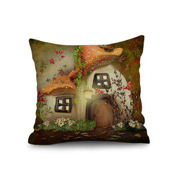 Butterfly Mushroom House Pattern Throw Pillow Case - multicolor G W18 INCH * L18 INCH