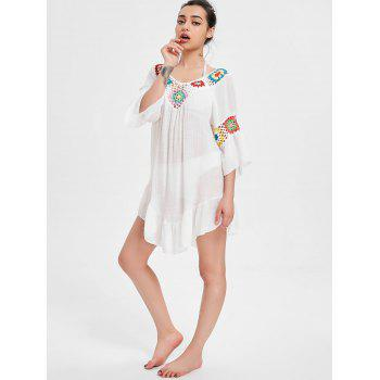 Flare Sleeve Flounce Crochet Panel Cover Up - WHITE ONE SIZE