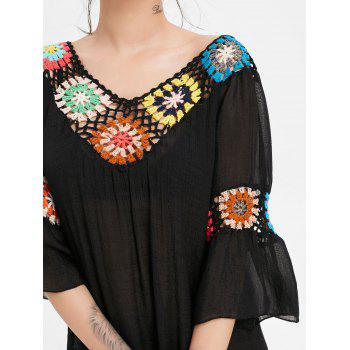 Flare Sleeve Flounce Crochet Panel Cover Up - BLACK ONE SIZE