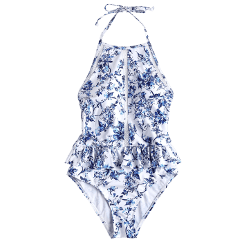 Floral Crochet Ruffle High Neck Swimsuit - WHITE L