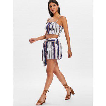 Striped Shorts Two Piece Set - BLUE S
