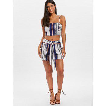 Striped Shorts Two Piece Set - BLUE L