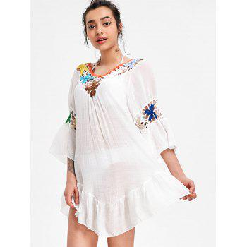Flounce Crochet Panel Swing Cover Up Dress - WHITE ONE SIZE