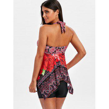 Halter Printed Handkerchief Backless Tankini Set - COLORMIX M