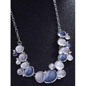 Alloy Geometric Charm Necklace with Earring Set - BLUE
