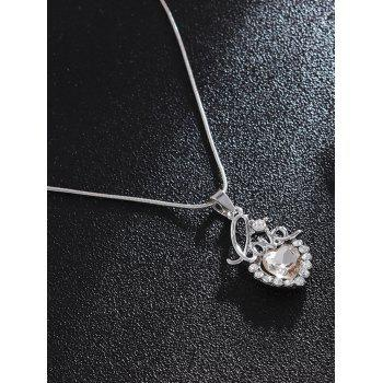 Rhinestoned Love Heart Necklace and Earring Set - SILVER