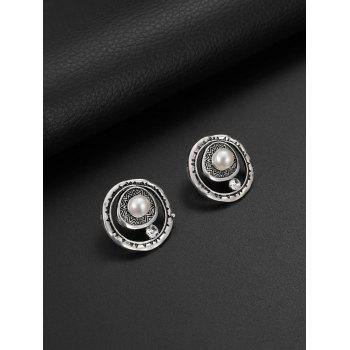 Artificial Pearl Rhinestone Engraved Round Necklace and Earrings - SILVER