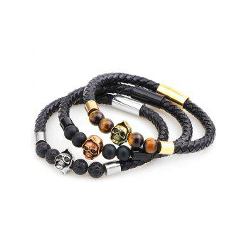 Artificial Leather Rope Braid Skull Beaded Bracelet - GOLD